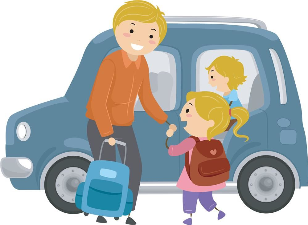 Cartoon parent letting child out of the car for school