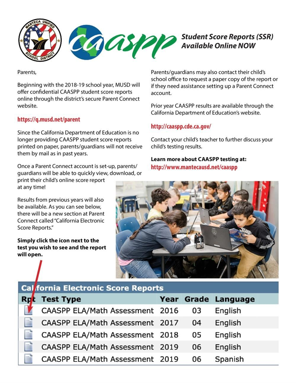 How to obtain CAASPP Student Scores