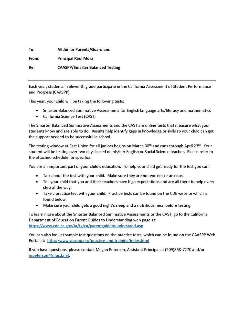 CAASPP Parent Letter and Schedule