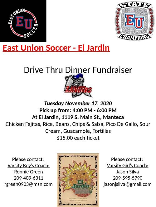 Soccer Drive Thru Dinner Fundraiser 11/17