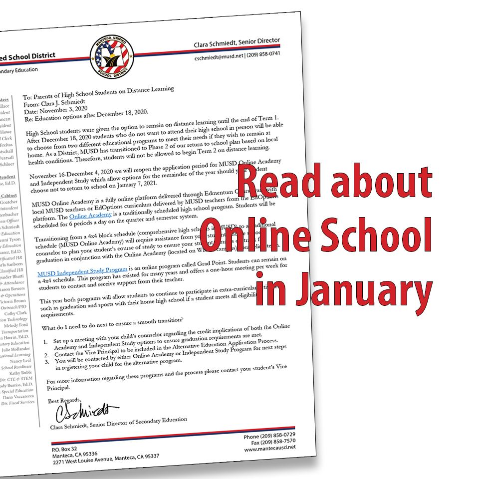 Read the Distance Learning Letter