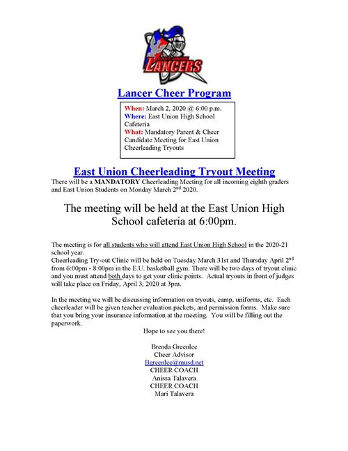 Cheer Parent Meeting and Tryouts Info