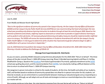 July 15, 2020 Letter from the Superintendent