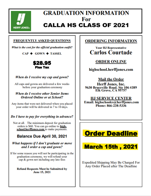 a flyer detailing information on how to order a graduation cap and gown from the company Herff Jones